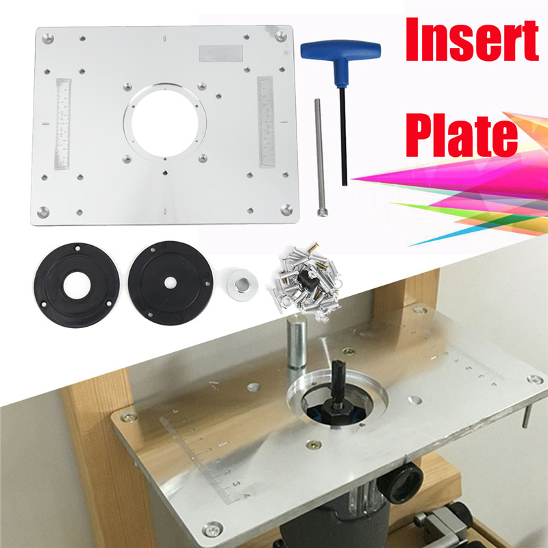 300235mm aluminum router table insert plate diy woodworking benches 1 x router table insert plate 2 x insert ring 1 x t wrench 1 x screwdrivers 1 x height adjusting kit keyboard keysfo Image collections