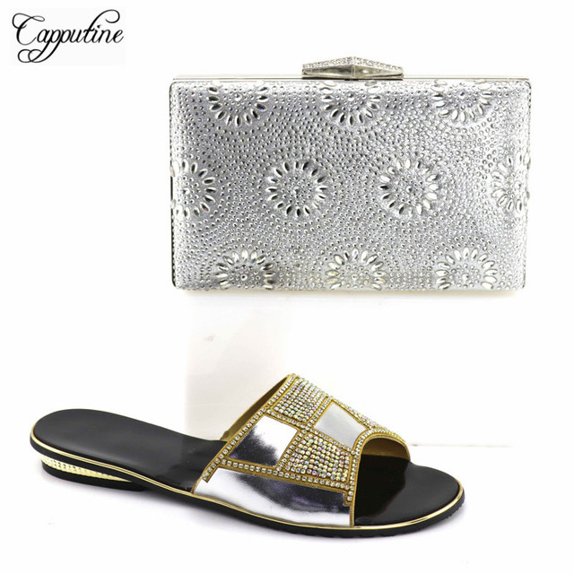 Capputine Latest Italian Style Rhinestone Slipper Shoes And Bag Set For  Party Nigerian Shoes And Matching Bags Set TX-08 80e7f9873cad