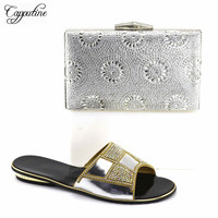 Capputine Latest Italian Style Rhinestone Slipper Shoes And Bag Set For Party Nigerian Shoes And Matching Bags Set TX 08