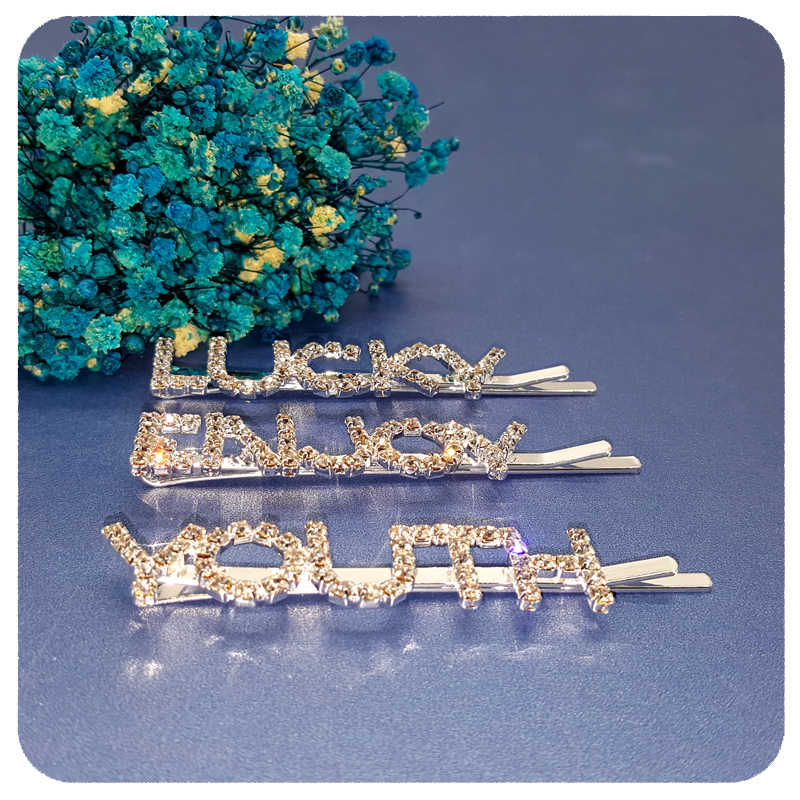 93e743c3e ... 2019 GRANDBLING British Style Rhinestone Bobby Pin Hair Pins Unique  Funny Crystal Word Hair Accessories Wholesale ...