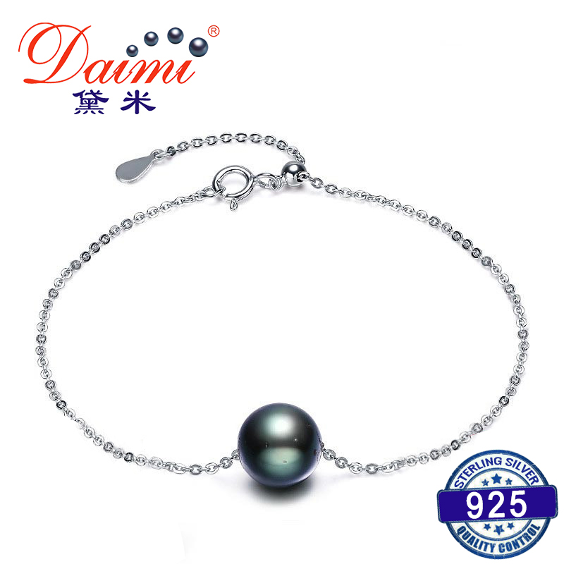 DAIMI Black Pearl Bracelet 9 10mm Natural Tahitian Pearl with S925 Silver Chain Bracelet Woman Hand Chain-in Bracelets & Bangles from Jewelry & Accessories    1
