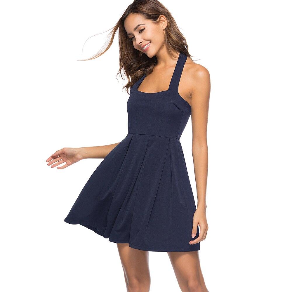 637652f4528b Sexy Club Wear Summer Dress Halter Neck Navy Blue Short Vestidos Sleeveless  Cocktail Party Women Dresses 2018 Mini Skater Dress-in Dresses from Women s  ...