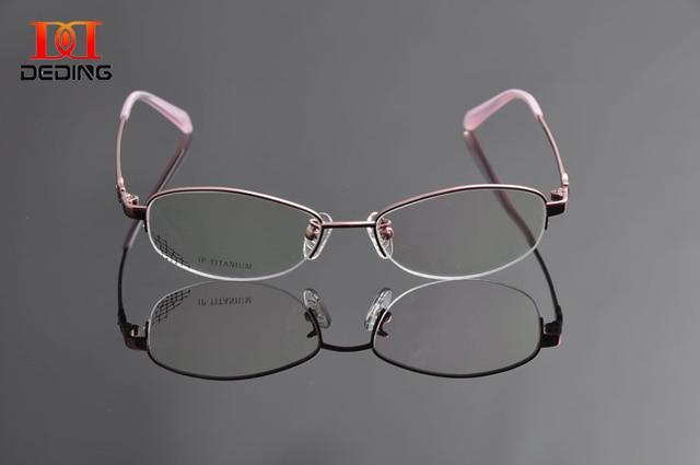 f96a9c528 DEDING Womens Titanium Optical Myopia Glasses High Quality Half-Rim Titanium  Eyeglasses Frame Oculos de