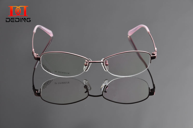 Deding женщин титан оптический миопия очки высокое качество half-диска титана очки кадр óculos де грау Feminino DD0950