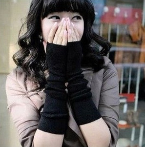 Autumn Winter Arm Warmers Fingerless Long Gloves Solid Warm Knitted Sleeves