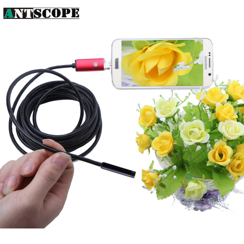 Antscope 8mm Lens Red USB Android Endoscope 5M Mini Waterproof Camera Endoscopio Android Endoscoop HD Inspection Snake Camera 7mm lens mini usb android endoscope camera waterproof snake tube 2m inspection micro usb borescope android phone endoskop camera