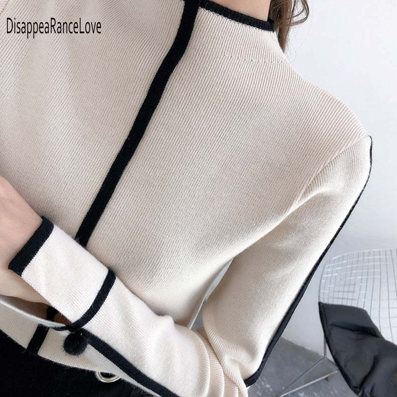Women Turtleneck Pullover Sweater Soft Jumper Long Sleeve Autumn Winter 2019 Warm Thick Slim Fit Tops