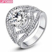 JROSE Perfect Classic Wedding Fashion White Topaz 18K White Gold Plated Ring Size 6 7 8
