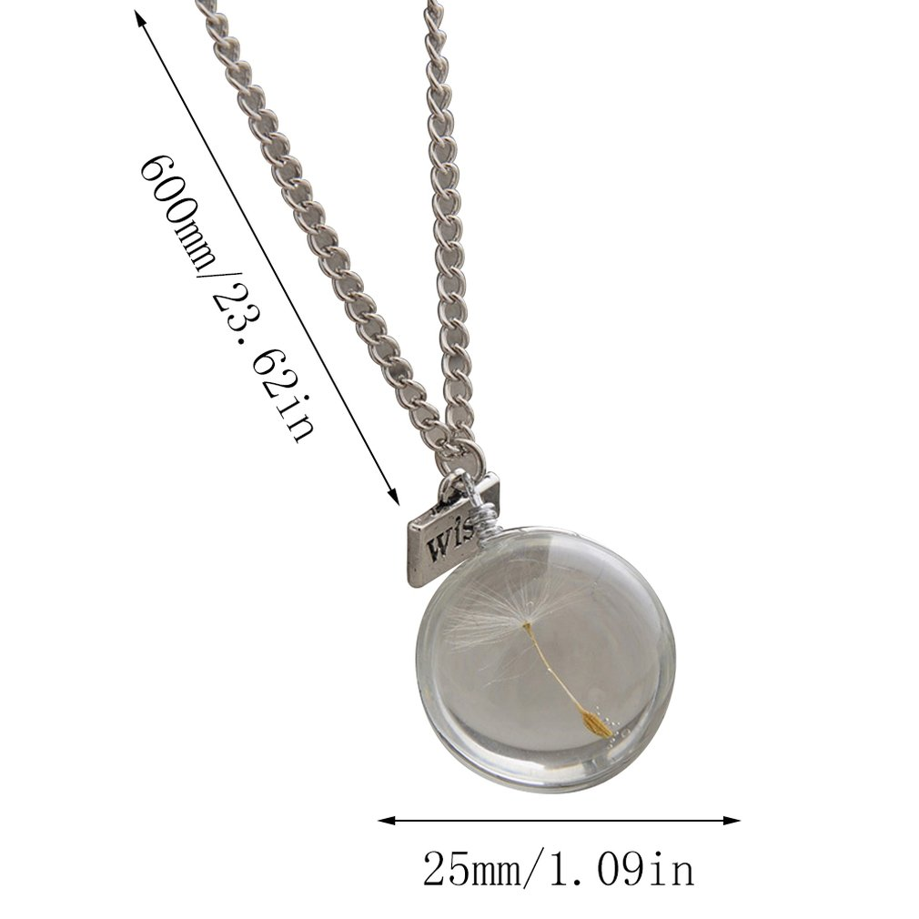 geekoplanet.com - Natural Dandelion Glass Pendant Necklace