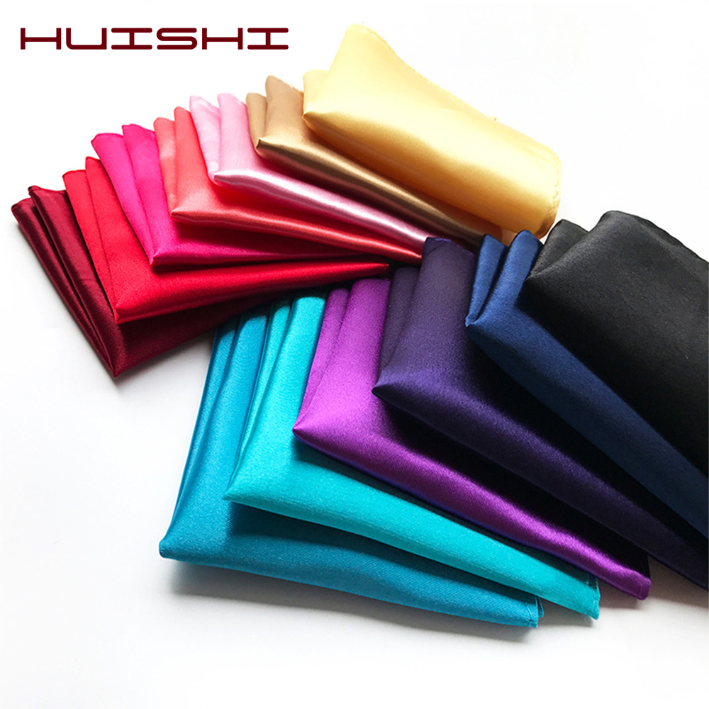 HUISHI 38 Colors Solid Color Vintage Fashion Party Pocket Hanky High Quality Men's Handkerchief Groomsmen Pocket Square
