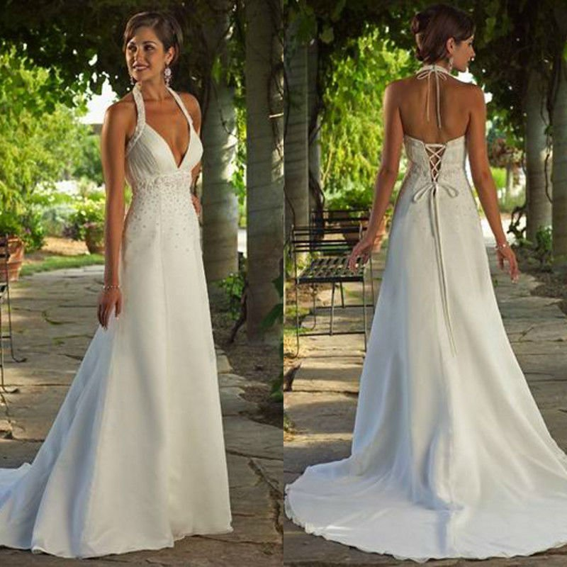 Marvelous halter v neck sexy beaded a line floor length for Mexican style wedding dress