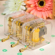 1pc High Quality Hand Acrylic Music Box 10 Songs Hand Crank Acrylic Music Box For Kids Girls Child Christmas Birthday Gift
