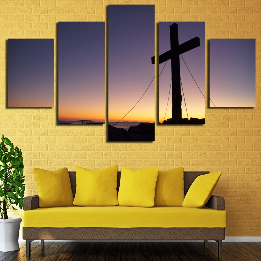 5 Panels Christian Church Cross Wall Art Picture Home Decor Living ...