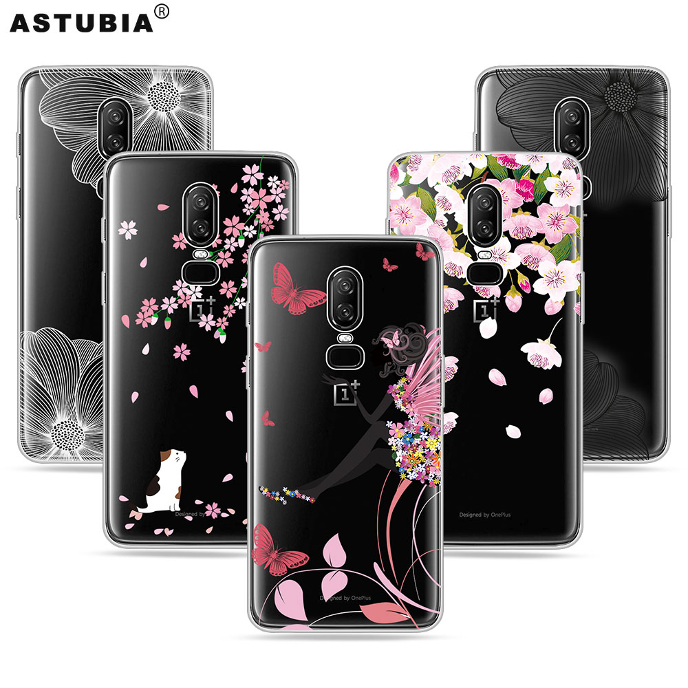 ASTUBIA Transparent Cover For Oneplus 6 Case For One Plus 5T Case Silicone Flower Case For Oneplus 5 T Cover For Oneplus 6 A5010