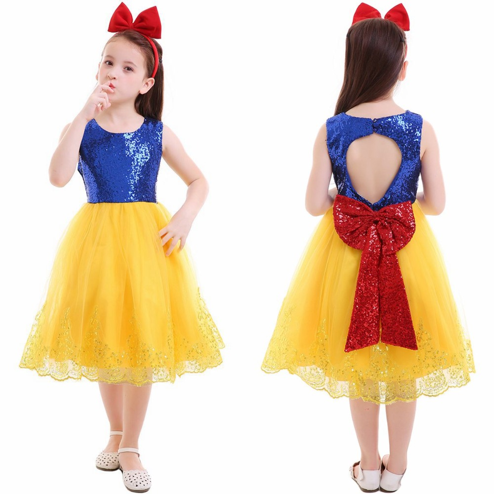 2pcs Set Kid Girls Snow White Fancy Princess Dress + Headband Birthday Cosplay Party Photo Costume Baby Girls Clothes Set 2 9Y