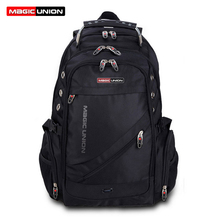 Magic union marca de diseño para hombres bolsa de hombre mochila de viaje bolsas de poliéster packsack impermeable hombro bolsos de la computadora al por mayor