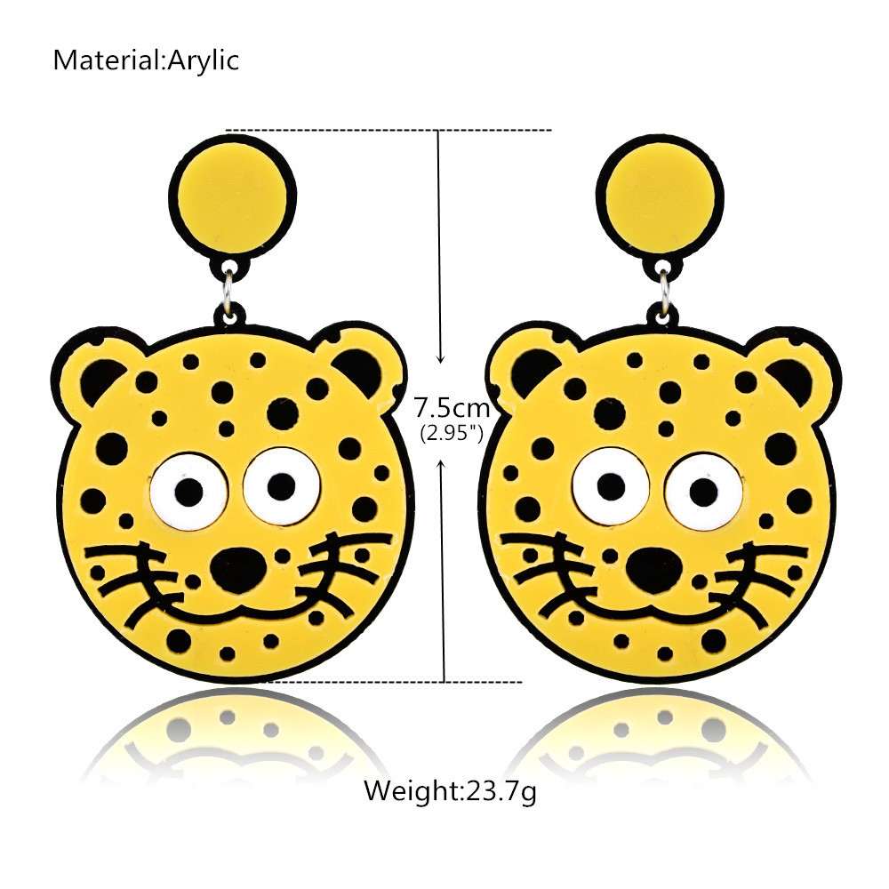 Kemstone Personality Cute Lovely Animal Tiger Earrings Long Acrylic Drop Dangle Earring Fashion Jewelery Big Earring Women