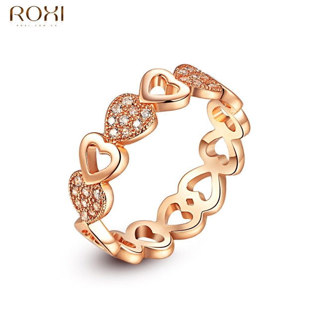 ROXI Rings for Women Gold Color Classic Simple Design Ring Heart Solitaire Zirconia Womens Wedding Loving Party Jewelry anillos