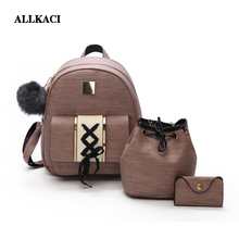 3Pcs/Set Women Backpack Set pu leather female fashion casual backpack +bucket bag+purse bags for teenagers girls 48
