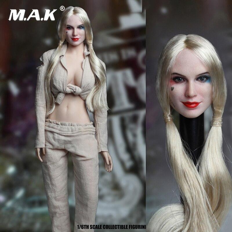 1/6 Scale Suicide Squad SET018-B Female Joker Head Sculpt& Prison Clothes Set For 12 Action Figure Toys Accessories