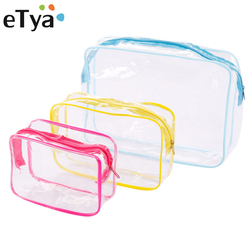 eTya Travel Cosmetic bag Women Makeup bag PVC Transparent Make Up Organizer  Toiletry Storage Case Men Zip Bath Wash pouch Tote 005d69772390e
