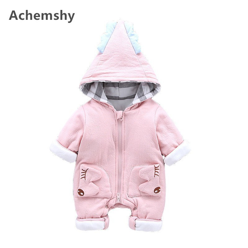 Winter Infant Pure Cotton Full Sleeved Jumpsuit Plus Velvet Cute Hooded Romper Baby Boys Girls Outwear Clothes Thick Warm цена 2017