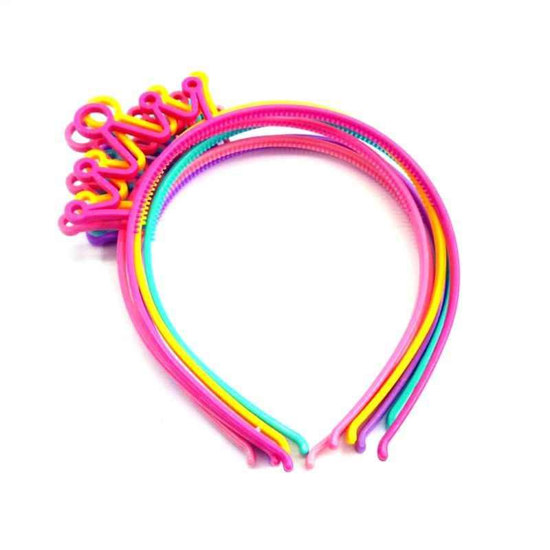 בנות נמתח פלסטיק סרט מתוק צבעים בוהקים חמוד חלול החוצה כתר נזר שיער חישוק מסיבת יום הולדת נסיכת בארה 'ב