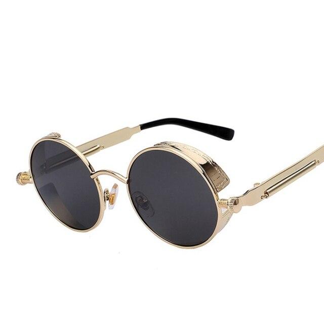 Ronde Gothique lunettes de Soleil Steam Punk Femmes Marque Cercle Miroir  Lunettes de Soleil Pour Hommes Étoiles Hip Hop Conduite Lunettes Hippie ... f83c434b3498