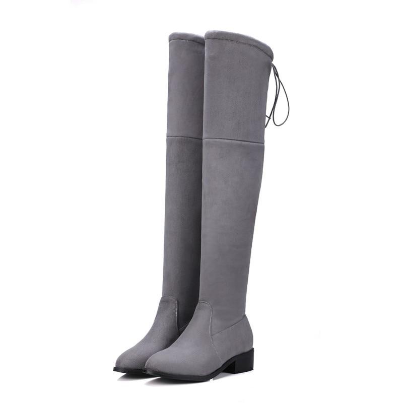 HooH Femmes Sur le genou Bottes L'hiver Simple Argent Talon Knee High Fermeture éclair Bottes d'équitation Beige 45 EU xfA9sbwkA