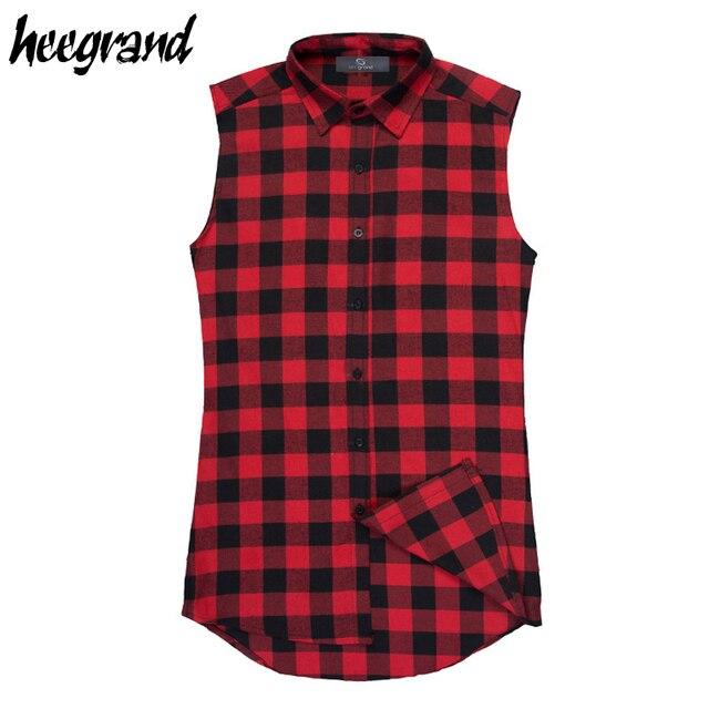 Hee grand veste dos homens 2017 novo chegada casual xadrez camisa sem mangas masculino tanque de algodão moda verão zíper lateral top mcs646