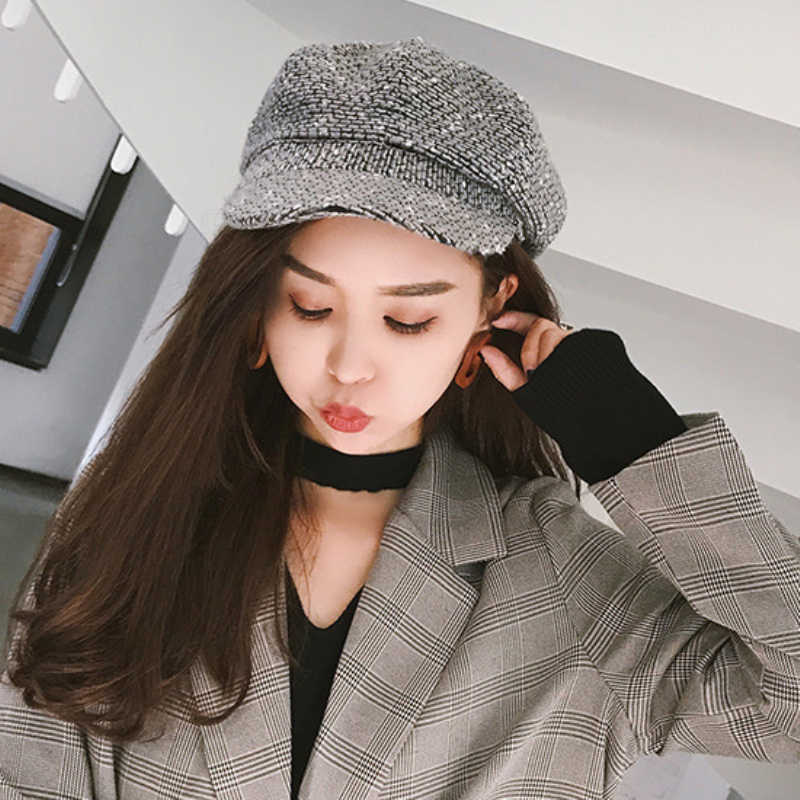 a04d9713d55df ... HT1911 Autumn Winter Hats Women Casual Knitted Female Berets Retro  Artist Painter Women Beret Hats Ladies ...