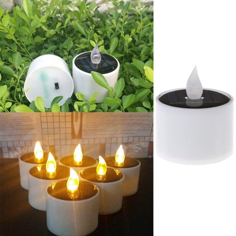 Solar Powered LED Candle Light Yellow Flicker Tea Lamp Festival Wedding Romantic Decor