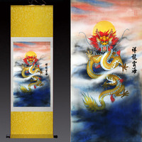 wholesale #2018 Home office WALL art TOP efficacious Protection Talisman FENG SHUI dragon art chinese silk painting