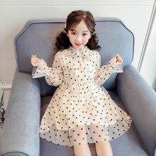 Одежда с длинными рукавами для маленьких девочек шифоновые платья весна горошек милые модные От 3 до 4 лет