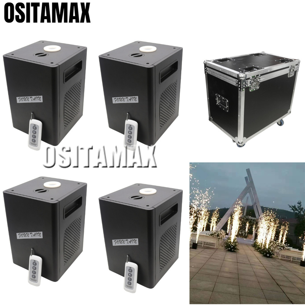 4pcs+1 flightcase Stage Cold Fireworks Machine 400w Cold Flame DMX and Remote Sparkler Equipment Wedding Fountain