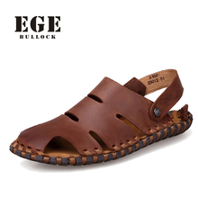New Arrival Soft Leather Beach Sandals for Men,Handmade Genuine Leather Summer Shoes Male,Retro Sewing Classics Slippers for Men