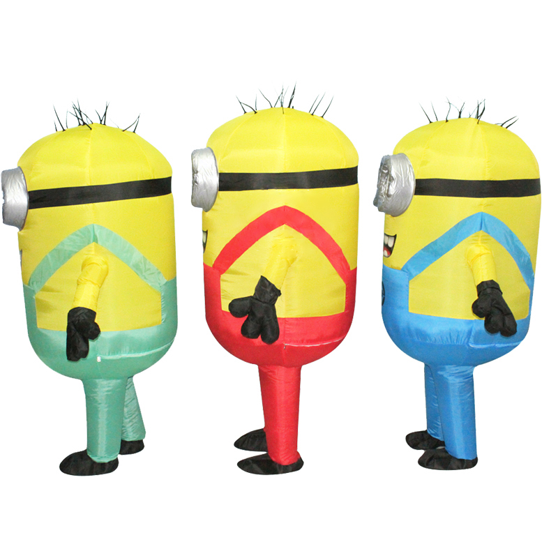 JYZCOS Adult Inflatable Minion Costume Halloween Carnival Party Cosplay Costume Double Eyes Minions Mascot Fancy Dress Outfits