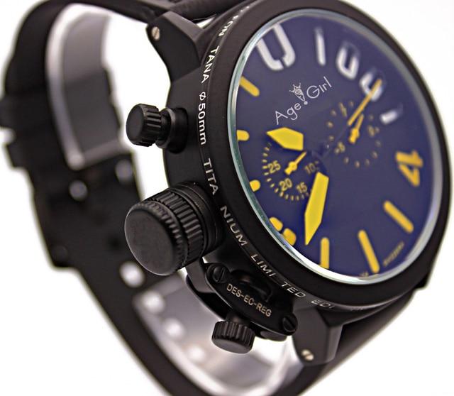 Luxury Brand New Men's Sports Black Rubber Classic U Round Automatic Mechanical