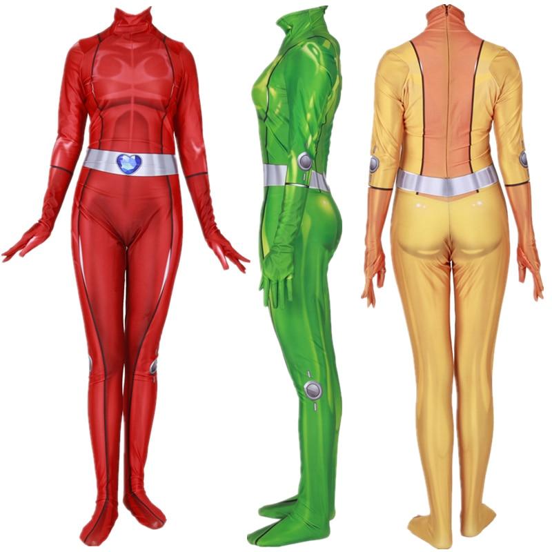 Women Girls Totally Spies Clover Ewing Samantha Simpson Alexandra Cosplay Costume Zentai Bodysuit Suit Jumpsuits