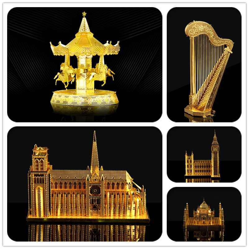 Pandamodel@HK NanYuan Chinese ICONX 3D Metal Earth Model Puzzle merry-go-round/Notre Dame de Pari/Saint Basil's Cathedral/ Brass