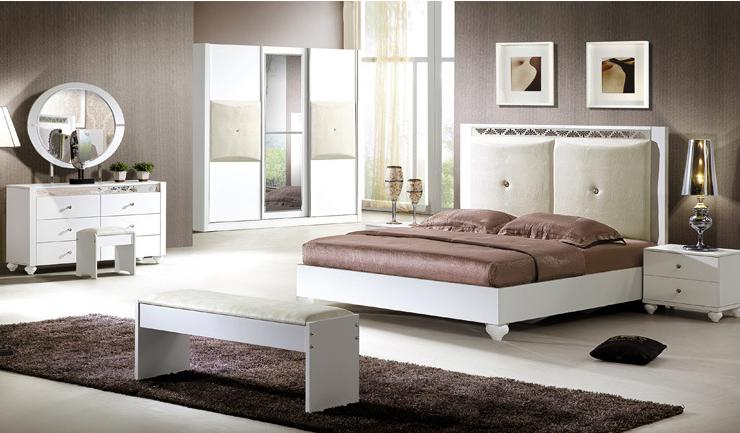 Manufacturers Selling All White Light Pu Leather Cheap Bedroom Furniture Complete Set
