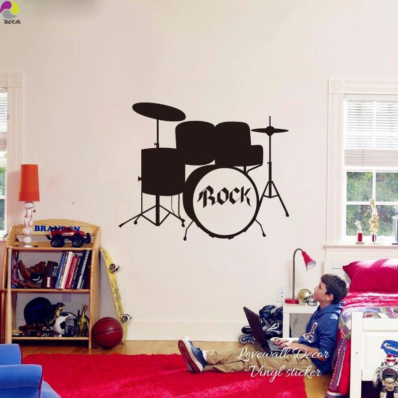 Rock Drums Music Wall Sticker Kids Room Bedroom Garage Band DJ Rock Wall Decal Boy Name Cut Vinyl Home Decor Wall Art Mural new
