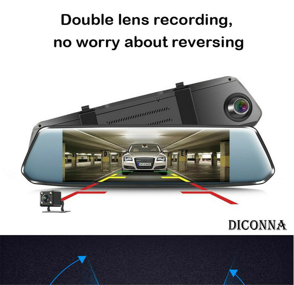 Voiture DVR caméra double objectif 7.0 pouces Full HD 1080 P Dashcam rétroviseur enregistreur vidéo enregistrateur voiture Cam Dash Cam 7