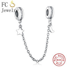 1e54222e4 FC Jewelry Fit Original Pandora Charm Bracelets 925 Sterling Silver Moon  Star In Sky Safety Chain Lock Beads For Making Berloque