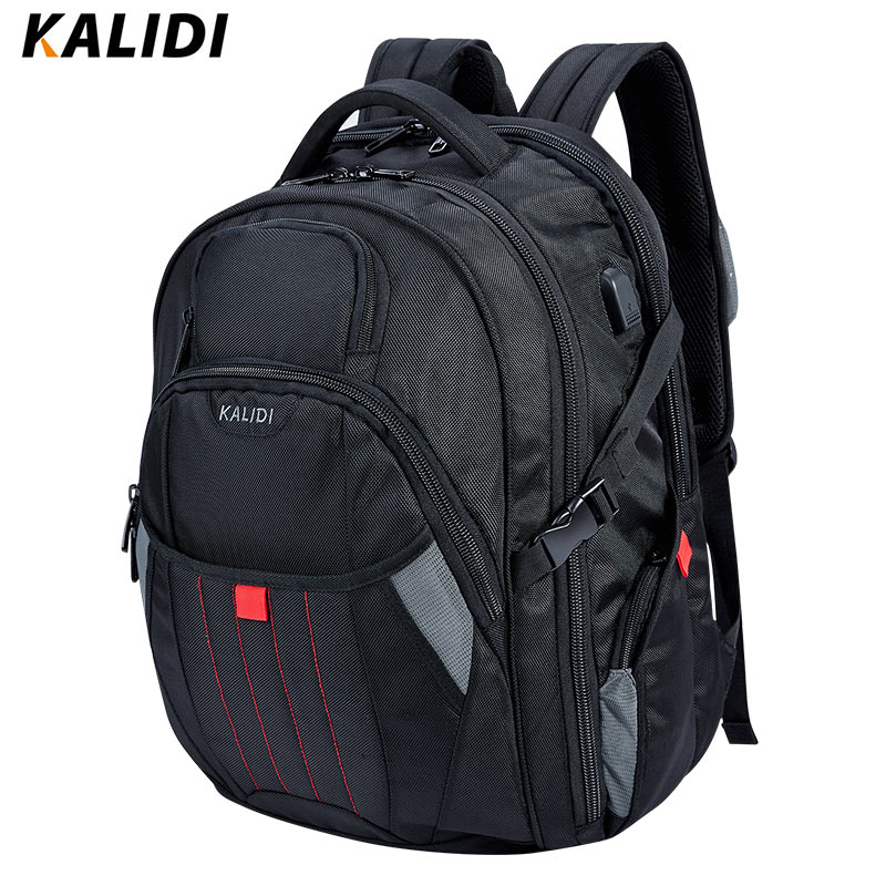KALIDI 17, 18 inch Waterproof Men Backpack USB Charging Large Capacity Travel Male Bags Laptop Backpack For 17.3, 18.4 inch