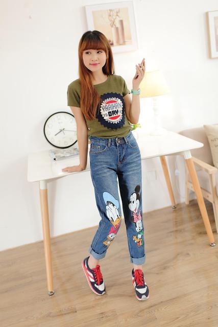 49480b8fa38 Plus Size 26-34 Animal Print High Waist Skinny Jeans Women 2015 Hot Brand  Cute Denim Long Pencil Pants Color Blue