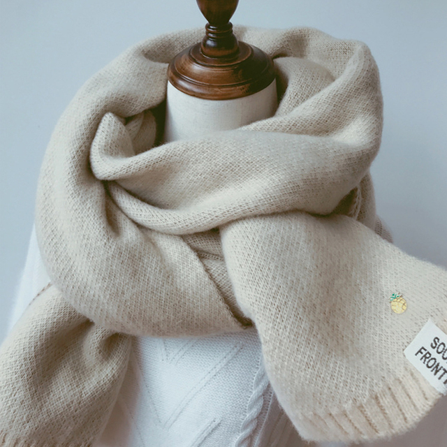 Solid Cashmere Winter Thicken Warm Soft Long Scarf 4