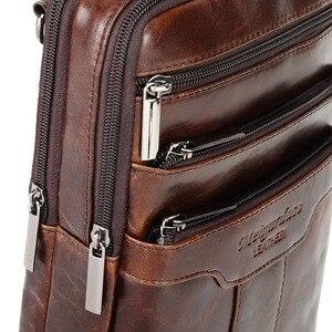 Image 5 - Vintage Leather Shoulder Messenger Bag for Men Travel Business Crossbody Pack Wallet Satchel Sling Chest Bags Black