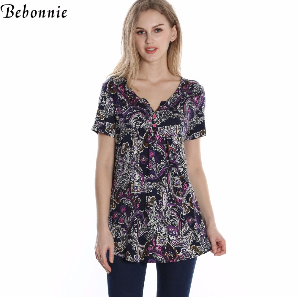 bebonnie summer button v neck short sleeve women floral t shirts curved hem long tunic tops