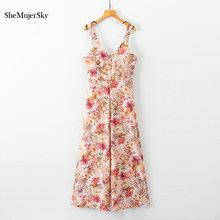 SheMujerSky Strap Backless Long monos mujer Floral pierna ancha mono suelto elegante(China)